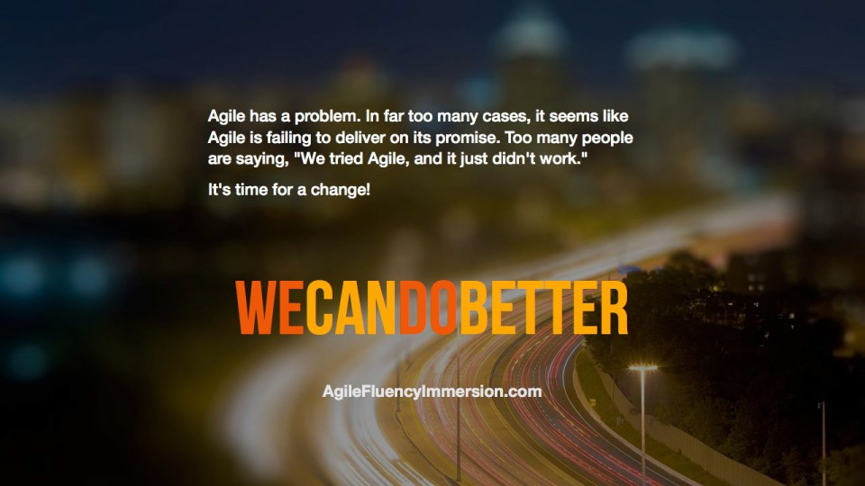 "Too many people are saying, ""We tried Agile, and it just didn't work""."
